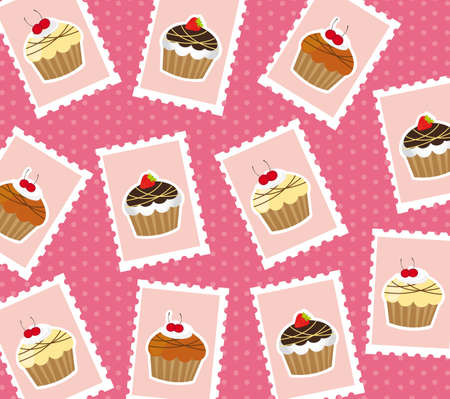 cute cup cake postage stamps over pink background. vector Vector