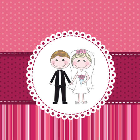 marriage invitation over pink cute background. vector Stock Vector - 13032650