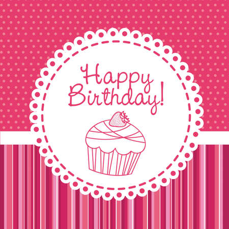cup cakes: feliz cumplea�os con torta de la taza sobre la tarjeta rosa. ilustraci�n vectorial