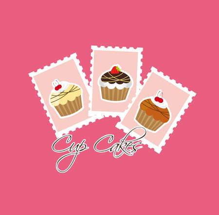 cup cakes: cup cakes m�s gastos de env�o sobre fondo de color rosa. vector