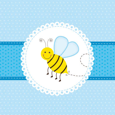bee party: blue greeting card with cute bee. vector illustration