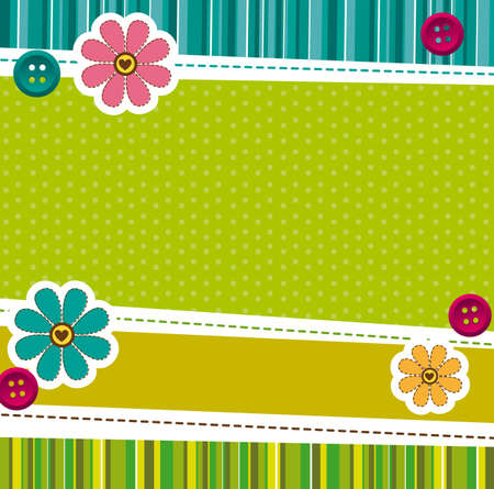 cute doodle: green cute background with frames. vector illustration