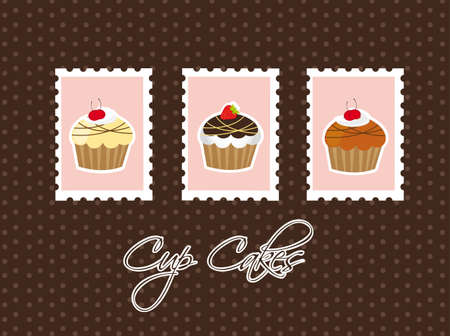 cup cakes over postage  over brown background. vector Vector