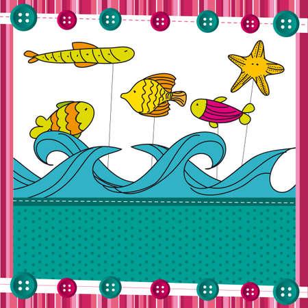 fish over sea, cute background. vector illustration Vector