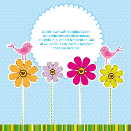 cute flowers with birds over blue background. vector Illustration