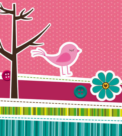 pink cute background with frame. vector illustration Stock Vector - 13032655