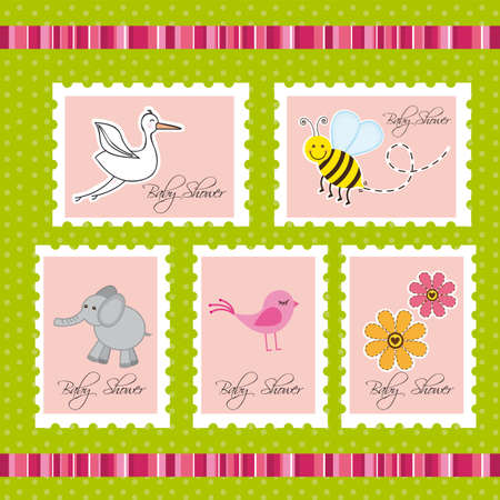 baby shower postage over green background. vector Vector