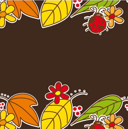 autumn leaves with ladybug over brown background. vector Stock Vector - 13032675
