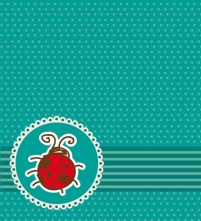 ladybug over greeting card, aquamarine. vector illustration Vector