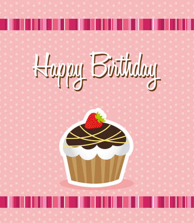 cute cup cake over pink background, birthday. vector Vector