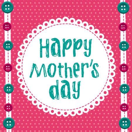 어머니의: 귀여운 배경 위에 행복 한 어머니의 날. 벡터 일러스트 레이 션 일러스트