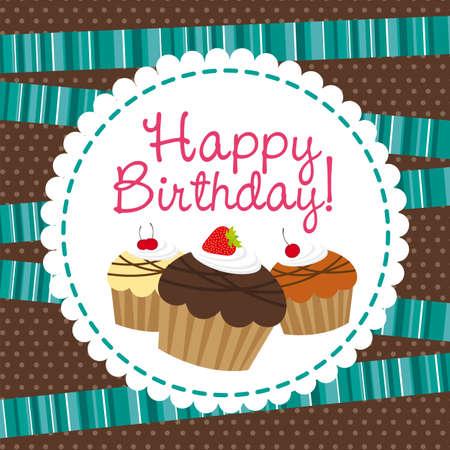 cup cakes: feliz cumplea�os con torta de la taza sobre fondo lindo. vector