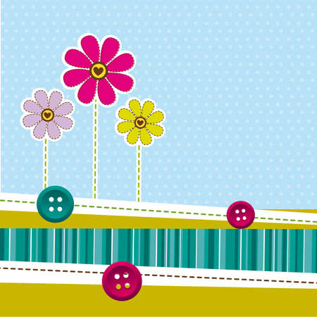 desing: cute flowers with frame over cute background. vector