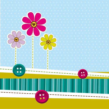 zauberhaft: niedlichen Blumen mit Rahmen �ber niedlichen Hintergrund. Vektor