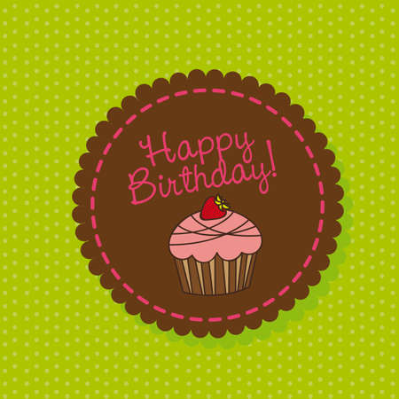 cup cake: cute cup cake over label, happy birthday. vector illustration