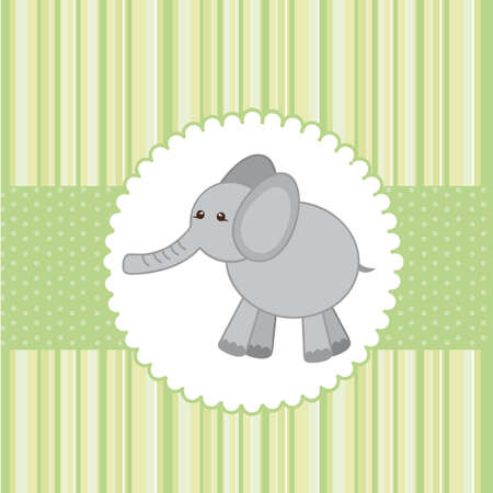 cute elephant over greeting card. vector illustration Vector