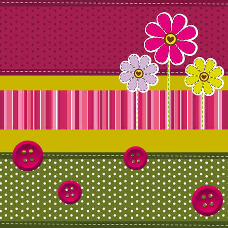 cute background with flowers and clothes buttons. vector  Vector