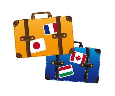 restyled: suitcase with flags isolated over white background. vector