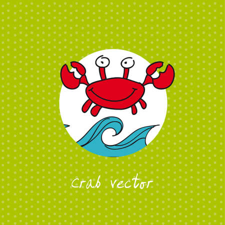 cute crab over green background. vector illustration