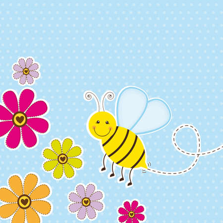 bee birthday party: cute bee with flower over blue background. vector illustration