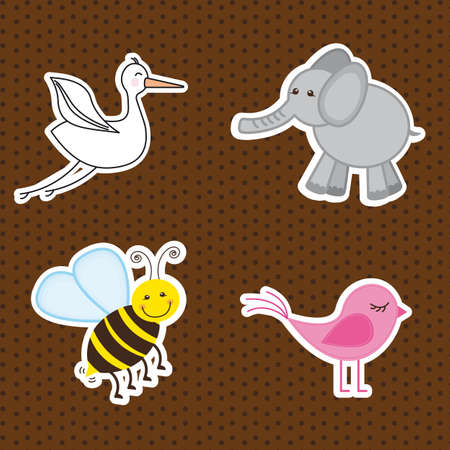 cute animals over brown background. vector illustration Vector