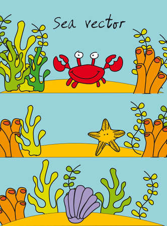 marine animals inside reef,  hand drawing. vector illustration  Vector