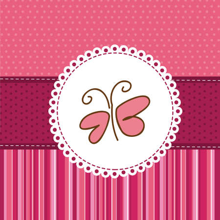 cute butterfly over greeting card. vector illustration Vector