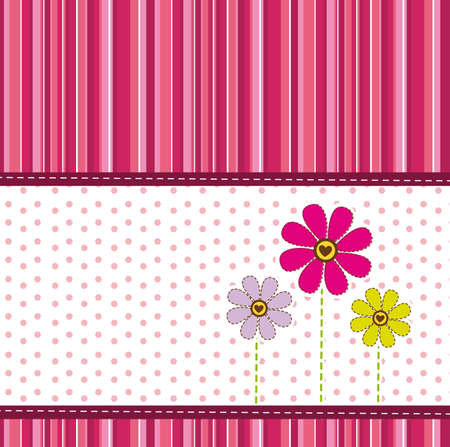stripes: cute flowers over greeting card. vector illustration