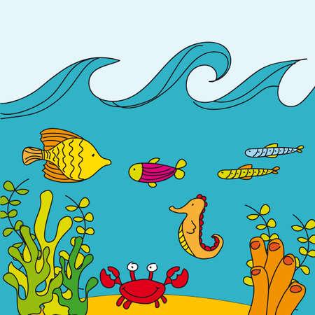 aquatic life: cute reef with marine animals, hand drawing. vector