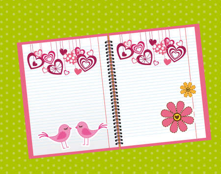 weekly: cute notebook over green background. vector illustration