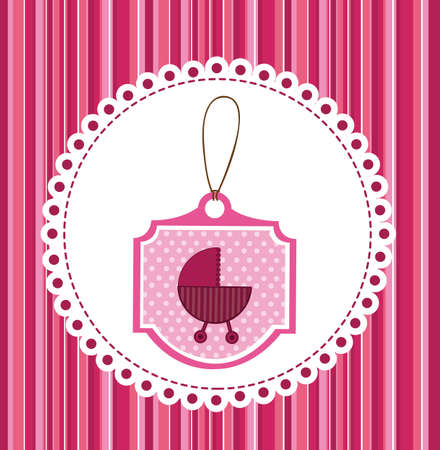 baby car over pink greeting card. vector illustration Vector