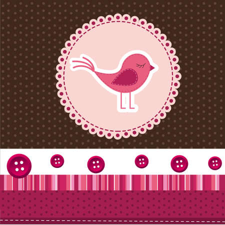 cute bird over label, cute background. vector illustration Vector
