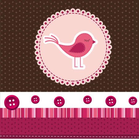 cute bird over label, cute background. vector illustration Illustration