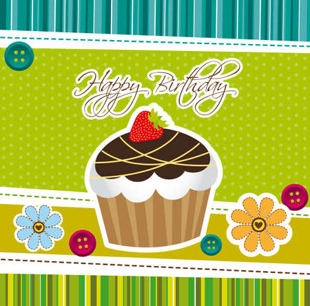 cup cake over green cute background. vector illustration Vector