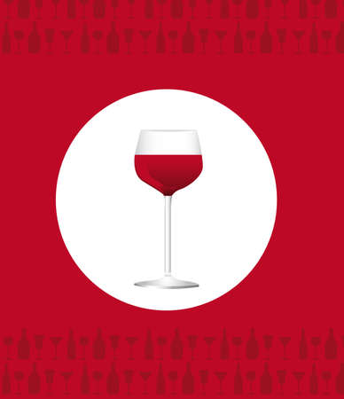 uncork: wine cup over red background. vector illustration