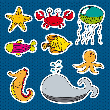 marine animals stickers over blue background. vector Vector
