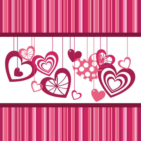 cute hearts over pink stripes, background. vector illustration Vector