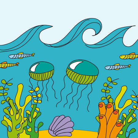 cute sea with marine animals, hand drawing. vector Vector