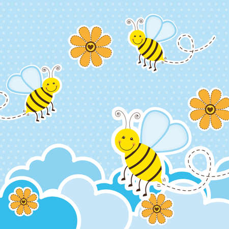 bee birthday party: cute bees over clouds and flowers, background. vector