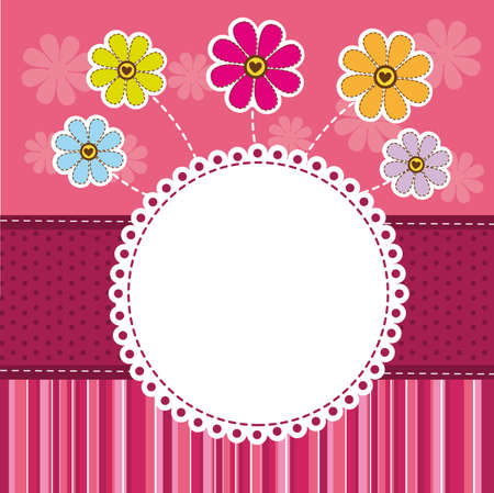 birth day: cute template greeting card, background. vector illustration