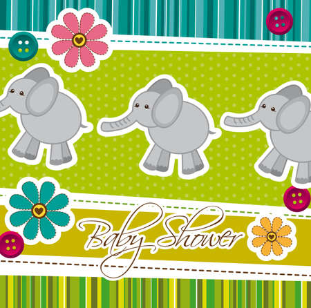 baby shower card with cute elephants, background. vector