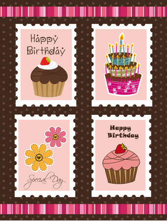 cute birthday postage over brown background. vector Vector