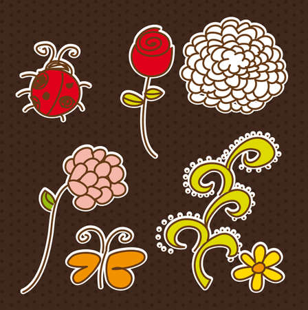 cute flowers and animals with edge. vector illustration Stock Vector - 13032692