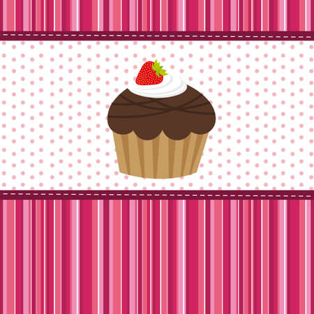 cup cake over cute background. vector illustration Stock Vector - 13032574