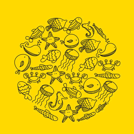 marine animals over yellow background, hand drawing. vector Vector