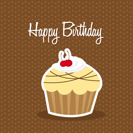 cute cup cake over brown background, birthday. vector Vector
