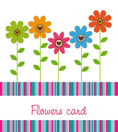 cute flowers with stripes background. vector illustration Vector