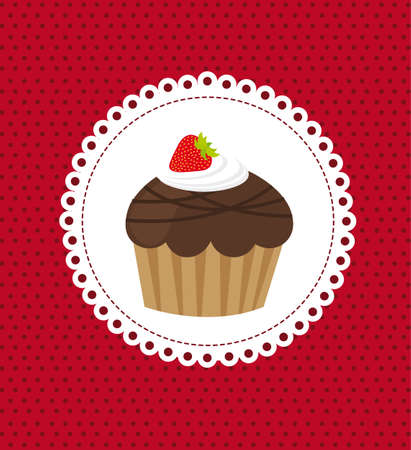 cartoon cake: cup cake over red background. vector illustration