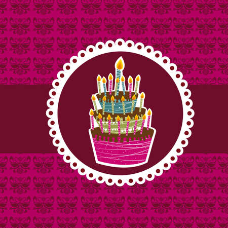 cute cake over violet background. vector illustration Vector