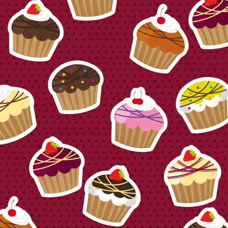 cup cakes over violet background with dots. vector illustration Vector